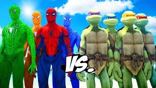 Download Teenage Mutant Ninja Turtles VS Spider-Man, Green Spiderman, Blue Spiderman, Orange Spiderman Video