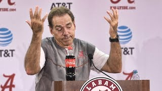 Download Nick Saban banters with reporters following practice Wednesday Video