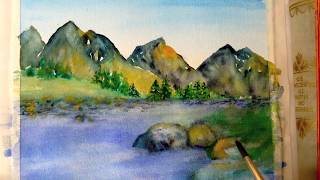Download Mountain-scape watercolor tutorial, step by step easy to follow Video