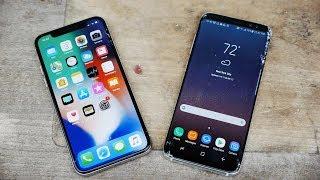 Download iPhone X vs Samsung Galaxy S8 Drop Test! Video