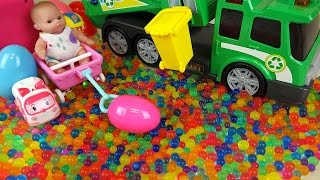 Download Baby doll and Dirt cart Surprise eggs color candy Kinder Joy toys Video