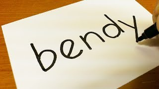 Download How to turn words BENDY into a Cartoon - Drawing doodle art on paper Video