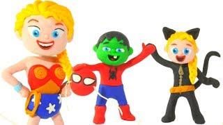 Download SUPERHERO CUSTOMS' PARTY ❤ Spiderman, Hulk & Frozen Elsa Play Doh Cartoons For Kids Video
