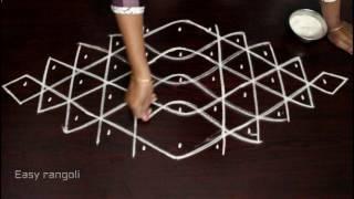 Download rangoli with 5 to 1 interlaced dots-muggulu-kolam-simple kolam-padi kolam-easy rangoli-rangoli art Video
