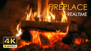 Download 4K Realtime Fireplace - Relaxing Fire Burning Video - 3 Hours - No Loop - Ultra HD - 2160p Video
