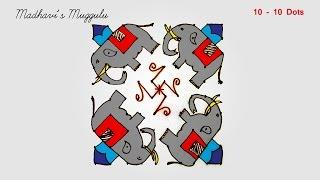 Download Elephant Dotted Rangoli | Chukkala Muggulu | Kolam - 10x10 Dots Video