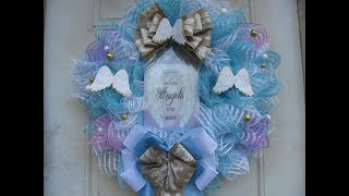 Download 2019, Blue and white deco mesh Angel Wreath Video
