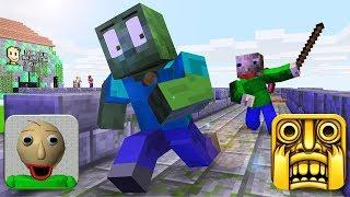 Download Monster School : BALDI'S BASICS and TEMPLE RUN Challenge - Minecraft Animation Video