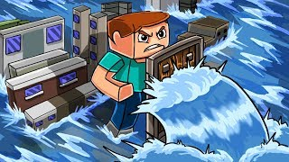 Download Minecraft | GIANT TSUNAMI BASE CHALLENGE - Micro City! (Tsunami vs Tiny Base) Video