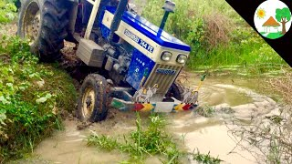 Download Risk way Canal / swaraj 744 Fe tractor Can't released and Stuck John deere tractor - Come to village Video