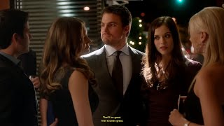Download Arrow S0108 Vendetta Clip 5 Weird Dinner (Oliver,Helena,Laurel,Tommy) Video