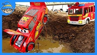 Download Lightning McQueen fell into a puddle of water. A fire truck tows a car. Video