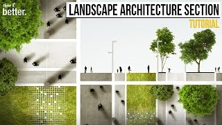 Download Landscape Architecture Section and Plan in Photoshop Tutorial Video