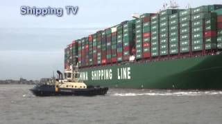 Download World's biggest container ship CSCL Globe maiden call: Video