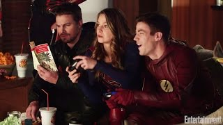 Download Flash, Arrow, Supergirl, Legends of Tomorrow crossover video by EW Video