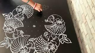 Download Beautiful peacock rangoli...simple rangoli...deepam kolam...11 to 6 dots... Video