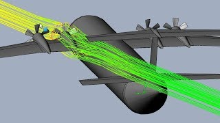 Download Twin Elevator Semi-T-Tail Turboprop Plane Aerodynamics - SolidWorks Flow Simulation Video