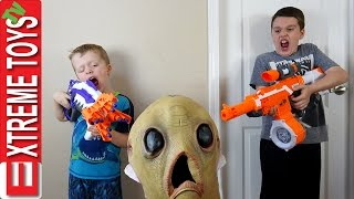 Download Alien Invasion! Creepy Alien Creature Nerf Battle! Extra Terrestrial Attacks Ethan and Cole! Video
