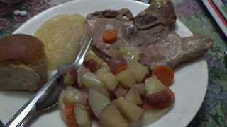 Download Mukbang Eating Pork Lion,Potato And Carrots,AppleSauce And Roll Video