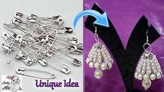 Download #99 Unique Diy Idea with Safety Pin   Jhumkas making with Safety Pin -Innovative Idea-Jewelry Making Video