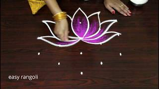 Download easy color Shangu kolam with Lotus * simple rangoli * latest small muggulu designs by Suneetha Video