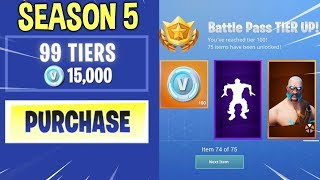 Download BUYING ALL THE BATTLE PASS TIERS IN SEASON 5! Video
