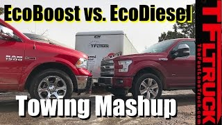 Download 2017 Ford F-150 EcoBoost 10-Speed vs Ram 1500 EcoDiesel 8-Speed Towing MPG Review Video