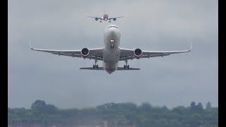 Download Boeing 767 smooth takeoff while another B787 Dreamliner is landing behind Video