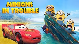 Download LIGHTNING MCQUEEN SAVES MINIONS IN TROUBLE w/ Spiderman and Hulk Funny Cartoon for Kids Video