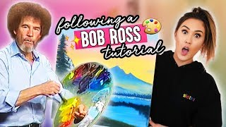 Download Following A Bob Ross Painting Tutorial Video