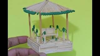 Download Matchstick Art and Craft Ideas   How to Make Matchstick Miniature House Relaxing Place Video