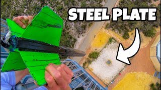 Download GIANT DART Vs. STEEL PLATE from 45m! Video