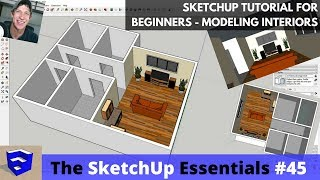 Download SketchUp Tutorial for Beginners - Part 3 - Modeling Interiors from Floor Plan to 3D! Video