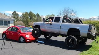 Download WE RAN OVER MY VW BEETLE WITH A LIFTED TRUCK!!! Video