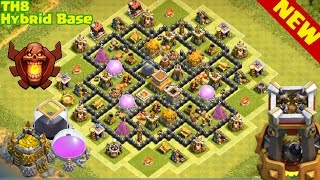 Download Clash of Clans | TH8 BEST Hybrid base, Trophy, Farming Base | town hall 8 base Video