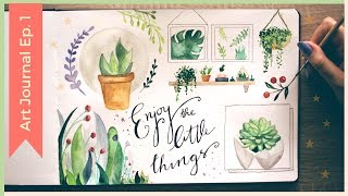 Download Easy Watercolor Plants | Watercolor Sketchbook Painting Ideas | Art Journal Thursday Ep. 1 Video