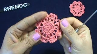 Download MOTIVO FLOR SENCILLA 8 PETALOS GANCHILLO CROCHET Video