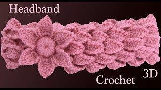 Download Diadema a crochet con trenzas de hojas y flor 3D en punto tunecino tejido tallermanualperu Video