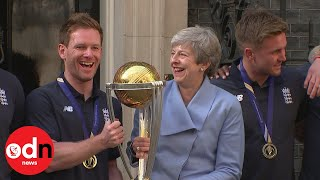 Download Theresa May Welcomes England Cricket Heroes To Downing Street For World Cup Celebrations Video
