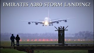 Download UNBELIEVABLE AIRBUS A380 HARD CROSSWIND LANDING DURING STORM @ Amsterdam Airport Schiphol Video