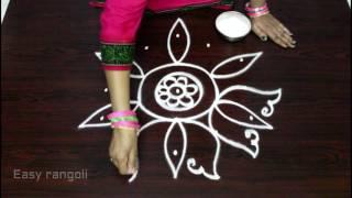 Download lotus rangoli designs with 5x3 dots || easy kolam designs with dots || muggulu designs with dots Video