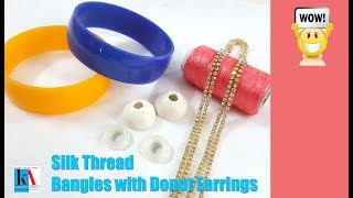 Download How to make Silk Thread Bangles and Donut Earrings at home || kalpana ambati Video