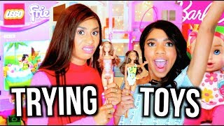 Download GIRLS TRY POPULAR KIDS TOYS! LEGOS BARBIES CRYING DOLLS | MyLifeAsEva Video