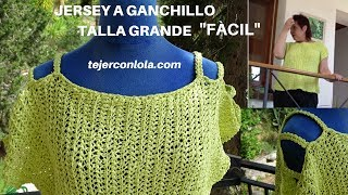 Download JERSEY A GANCHILLO TALLA GRANDE ″FÁCIL″ (variante de punto bajo) Video