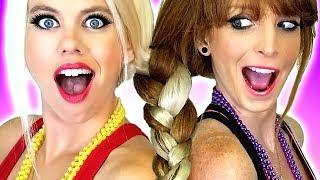Download Hair Challenge!!! Sisters Make One Braid! Plus DIY Beauty & Makeup Hacks and Tips! Video