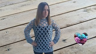 Download Pull losange femme crochet 1/2 / Spring (Grid) sweater crochet (english subtitles) Video