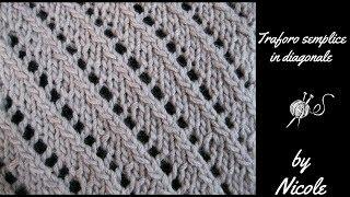 Download Maglia: Punto traforo semplice in diagonale - Knitting lace stitch Video