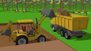 Download #Excavator and Truck, Dump Truck and Concrete Mixer Truck | Street Vehicles | Maszyny Budowlane Video