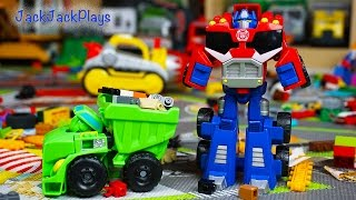 Download Transformers Rescue Bots Toy UNBOXING: Bulldozer Boulder + Truck Optimus Prime Video