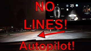 Download Tesla Motors: Autopilot Driving without Lines on Firmware 8.0 Video